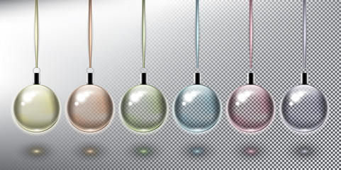 Set of 6 Christmas balls in pastel colors with silk ribbons. Christmas ornaments. Design elements for holiday cards. Transparent and isolated on the white panel. Vector illustration. Eps10.