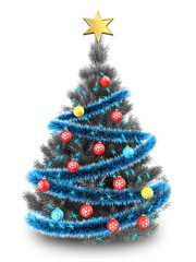 3d silver Christmas tree