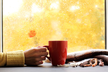 golden time for rest/ red mug of hot drink, when behind a window is rain in autumn