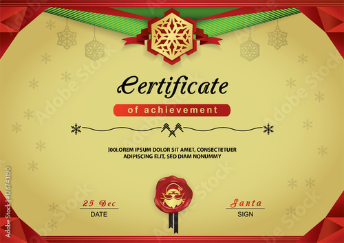 Christmas Certificate Border.Christmas Gold Certificate Red Green Abstract Border
