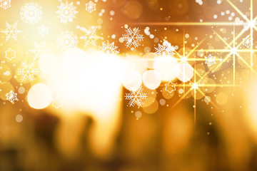Abstract background. Red gold-colored blur. Circle blur. Christmas snowflakes background. fireworks
