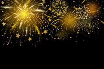 Vector gold fireworks on black background