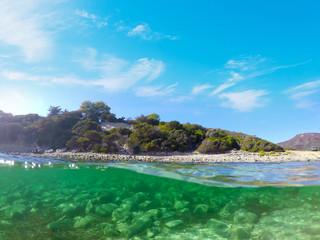 Split underwater view of La Speranza beach