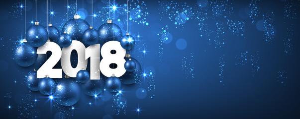 Blue shining 2018 New Year banner.
