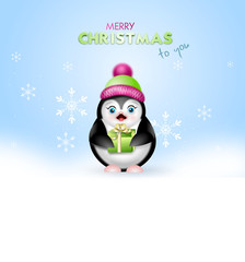 Christmas greeting card with penguin