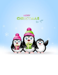 Christmas greeting card with penguins