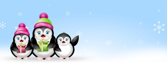 Winter web banner with penguins