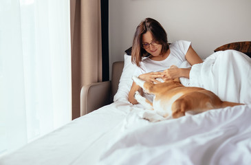 Woman plays with beagle dog in bed