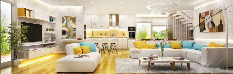 Big living room with modern kitchen