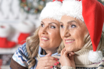 Two women celebrating Christmas