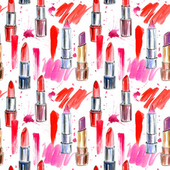 Seamless pattern of a red lipstick and splashes. Fashion,cosmetics and beauty image.Watercolor hand drawn illustration.White background.