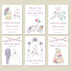 Vector set of wedding cards