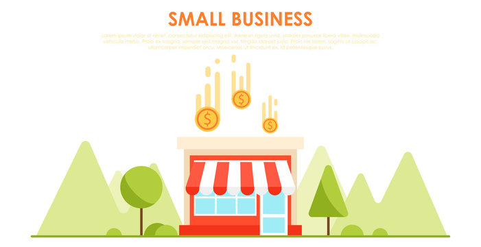 Small business banner. The shop is profitable. Horizontal background with trees and mountains