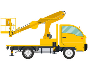 Isolated modern Truck-mounted aerial platform on a white background. Vector illustration
