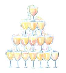 champagne pyramid watercolor illustration