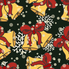 Jingle bells vector seamless pattern isolated on black background. Merry Christmas and Happy New Year design in traditional style. Golden Christmas bell with red ribbon. Simple minimal flat design.