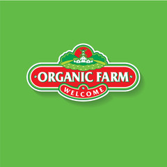 Organic Farm logo. The farm, a mill and a house in vintage style.
