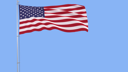 Flag of USA on a flagpole fluttering in the wind on a blue background, 3d rendering.