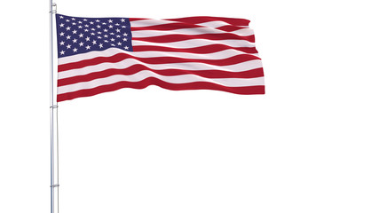 Flag of USA on a flagpole fluttering in the wind on a white background, 3d rendering.