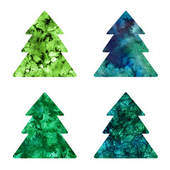 Set of hand drawing merry christmas tree on white background. Watercolor green fir-tree texture silhouette. Hand painting illustration.