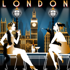 Two flapper girls in a restaurant overlooking London. Tourist or retro party invitation card. Hand drawing vector illustration. Art Deco style.