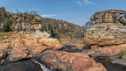 Waterfalls with rocks in the canyon of Leba. Angola. Lubango.