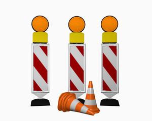 Leitbake für Verkehrsführung mit Warnleuchten und Leitkegeln