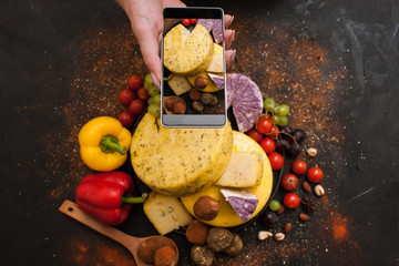 Food photography of rustic dairy. Cheese top view. Social networks and culinary blog concept