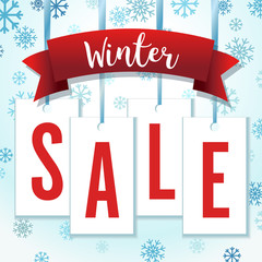 Blue and Red Hang Tag Snowflakes Winter Sale Vector Illustration
