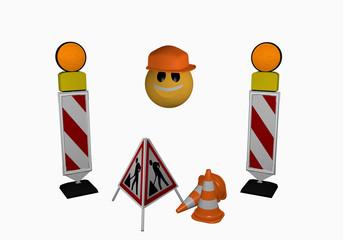 Emoticon mit Leitbaken, Warnlicht, Leitkegel und Aufsteller für eine Baustelle