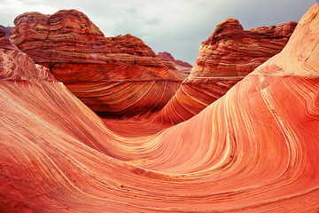 Acrylic Prints Coral The Wave Sandstone Rock Formation in North Coyote Buttes near the Arizona/Utah Border