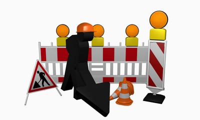 Bauarbeiter mit Leitbaken, Sicherheitsabsperrung, Warnlicht, Leitkegel und Aufsteller für eine Baustelle