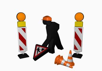 Bauarbeiter mit Leitbaken, Leitkegel und Baustellenschild