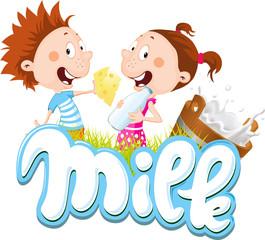 milk design with children eating cheese and drinking milk - vector illustration cartoon