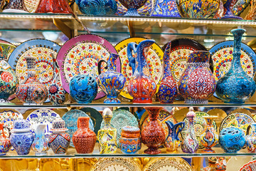 Ceramic traditional turkish souvenirs at grand bazaar, istanbul