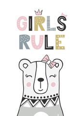 Girls rule - unique hand drawn nursery poster with handdrawn lettering in scandinavian style. Vector illustration