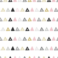 Unique hand drawn seamless pattern with abstract shapes. Vector illustration in monochrome scandinavian style