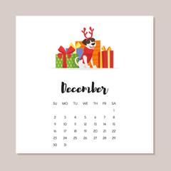 december dog 2018 year calendar