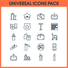 Traveling Icons Set. Collection Of Pilot Hat, Briefcase Scanner, Suitcase And Other Elements. Also Includes Symbols Such As Research, Departure, Briefcase.