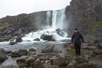 Famous Godafoss is one of the most beautiful waterfalls on the Iceland. It is located on the north of the island.