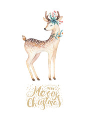 Wall Mural - Christmas watercolor deer. Cute kids xmas forest animal illustration, new year card or poster. Hand drawn isolated baby animals.