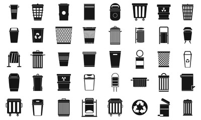 Garbage can icon set, simple style