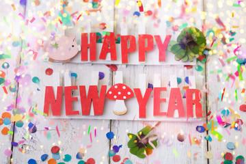happy new year card bokeh