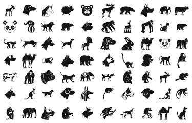Animals icon set, simple style