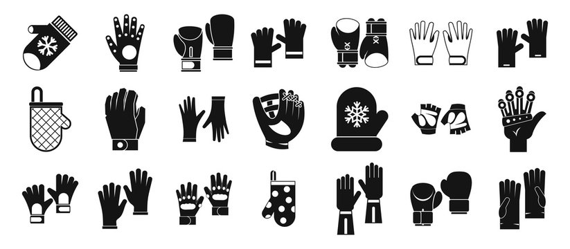 Gloves icon set, simple style