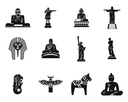Statue icon set, simple style