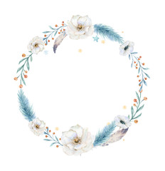 Merry Christmas watercolor cards with floral elements. Happy New Year lettering posters. Winter xmas flower and branch wreath decoration.