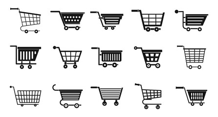 Shop cart icon set, simple style