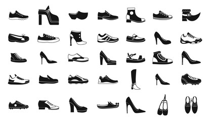 Shoes icon set, simple style