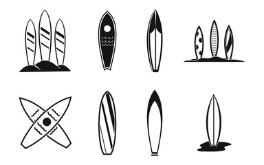Surf board icon set, simple style